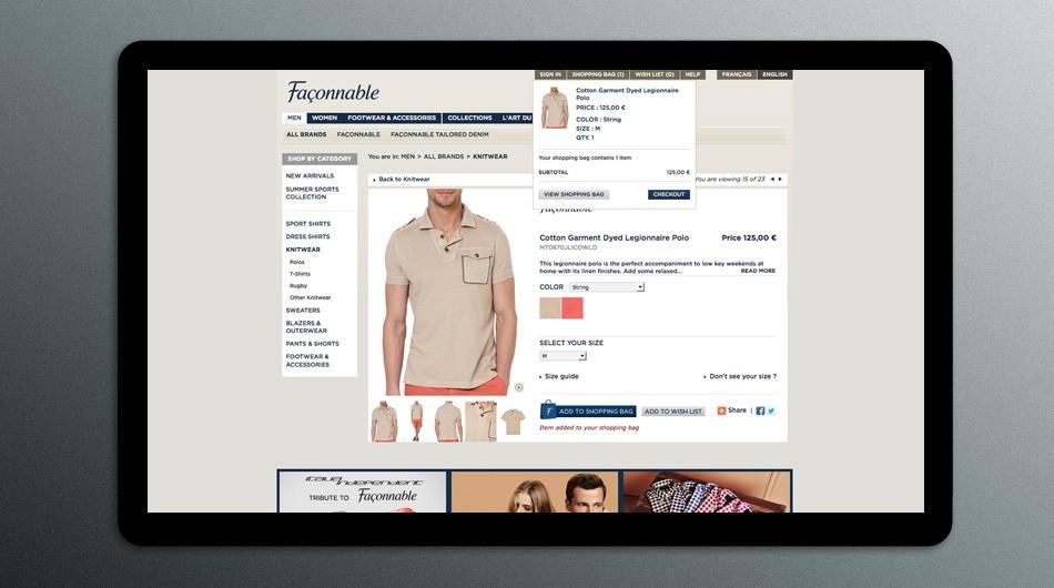Façonnable ecommerce site